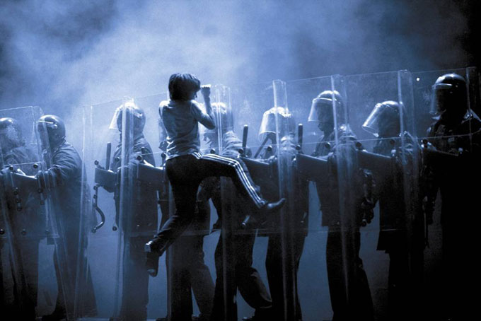Billy Elliot - Victoria Palace Theatre - Billy on Riot Shields