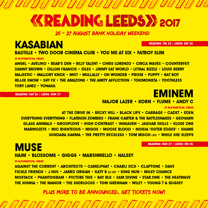 Reading & Leeds Festival - Reading & Leeds Line-up